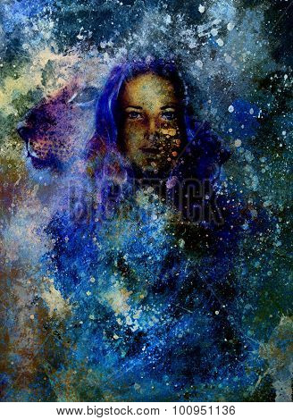 woman goddess  and Little lion cub head. abstract  color background with spots