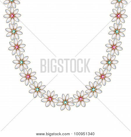Flower gemstones pearl chain necklace or bracelet.