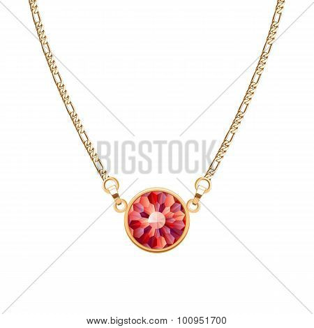Golden chain necklace with round ruby pendant.