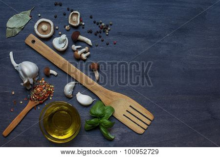 Mushrooms, Condiment, Olive Oil And Wooden Equipments