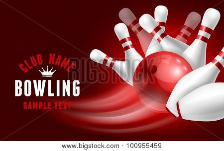Red bowling ball crashing into the white glossy skittles. Vector illustration on sport bowling theme.