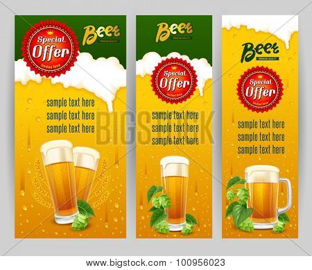 Beer glasses and fresh hops on banners set. Original backdrops with beer and foam. Vector illustration.