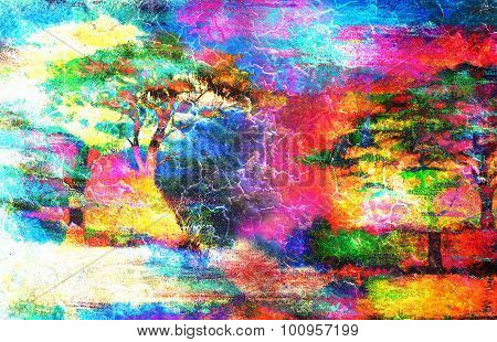 Painting sunset, sea and tree, wallpaper landscape, color collage crackle effect