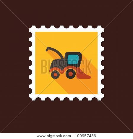 Combine Harvester Flat Stamp With Long Shadow