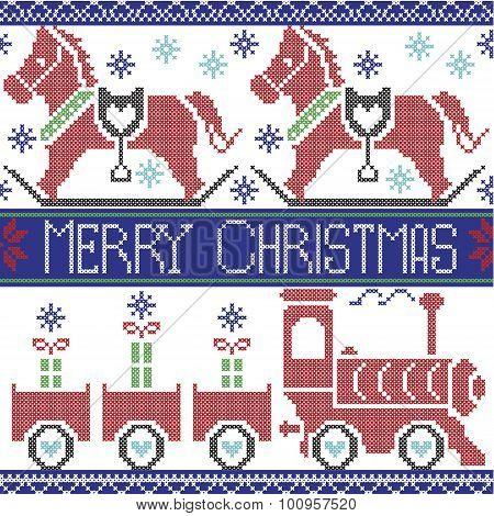 Dark blue, red , light blue, black , red and green Merry Christmas Scandinavian seamless Nordic patt