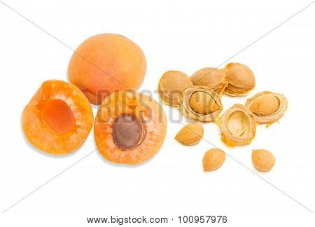 Ripe Apricot And An Apricot Kernels Closeup