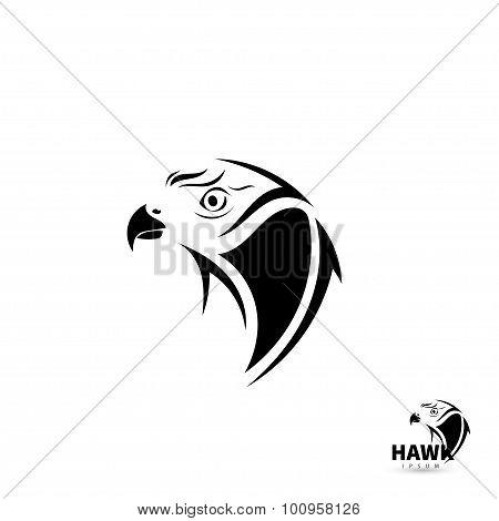 Stylized Silhouette Face Hawk. Artistic Bird Tattoo Concept. Vector Illustration.