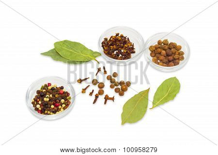 Spice - Dried Bay Leaf, Different Types Of Pepper, Clove