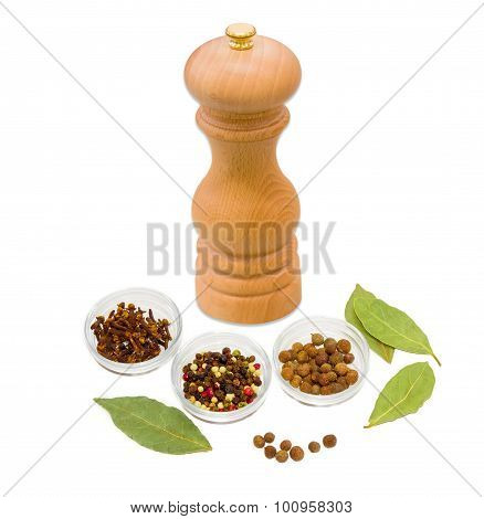 Handmade Mill For Spices, Dried Bay Leaf, Clove And Pepper