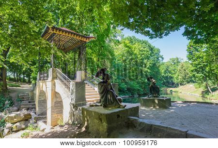 Chinese Bridge Of The 19Th Century With Sculptures