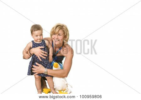 Happy Grandma With Child