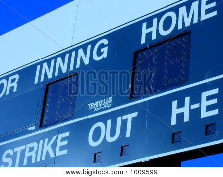 Baseball Scoreboard At Dusk