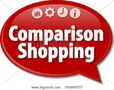 Speech bubble dialog illustration of business term saying Comparison Shopping