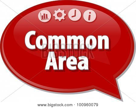 Speech bubble dialog illustration of business term saying Common Area