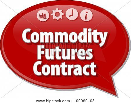 Speech bubble dialog illustration of business term saying Commodity Futures Contract
