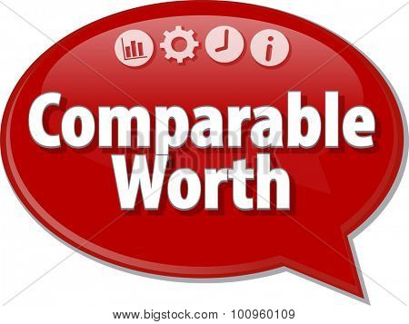 Speech bubble dialog illustration of business term saying Comparable Worth