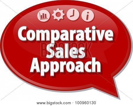 Speech bubble dialog illustration of business term saying Comparative Sales Approach