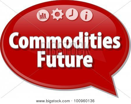 Speech bubble dialog illustration of business term saying Commodities Future