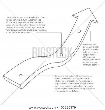 Vector illustration of 3d gray arrow