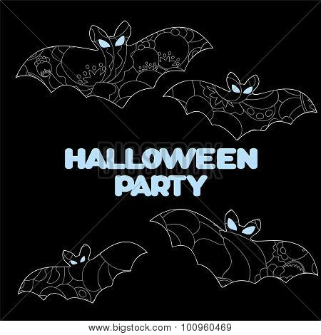 Vector Halloween Background With Bat