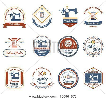 Tailor shop original labels icons set