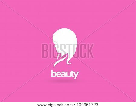 Woman Face Logo Design Template. Girl Silhouette - Cosmetics, Beauty, Health And Spa, Fashion Themes