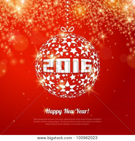2016 New Year Greeting Card with Ball.