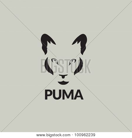 Artistic Vector Silhouette Puma. Stylized Idea Wild Animal Icon.
