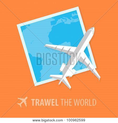 Plane illustration in flat style. Travel concept