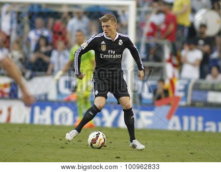 BARCELONA - MAY, 2015: Toni Kroos of Real Madrid during a Spanish League match against RCD Espanyol at the Power8 stadium on Maig 17 2015 in Barcelona Spain