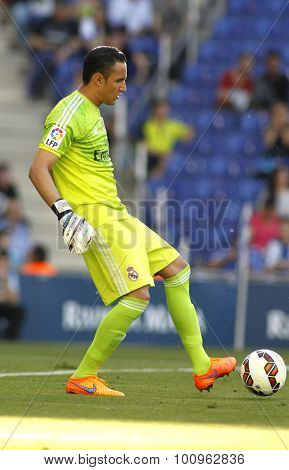 BARCELONA - MAY, 2015: Keylor Navas of Real Madrid of during a Spanish League match against RCD Espanyol at the Power8 stadium on Maig 17 2015 in Barcelona Spain