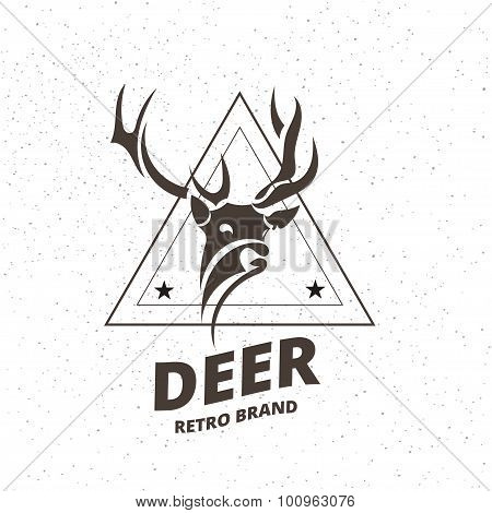 Stylized Deer Element In Vintage Style For Logotype, Label, Badge, T-shirts And Other Design. Artist