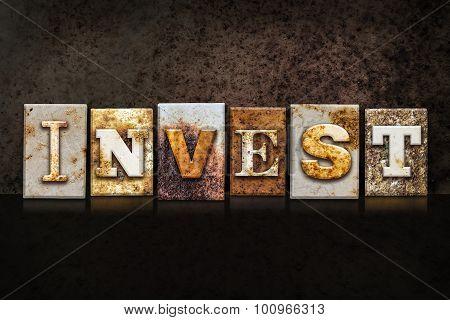 Invest Letterpress Concept On Dark Background