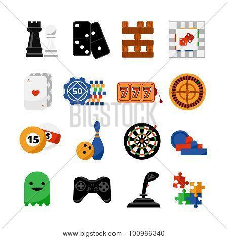 Gambling casino games flat icons set