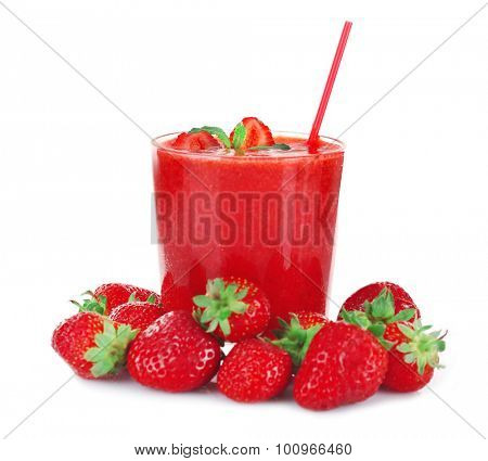 Glass of fresh strawberry cocktail and strawberries isolated on white