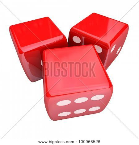 Three red dice rolling to place or take a bet and gamble in a casino, with blank copy space for your words, text or message