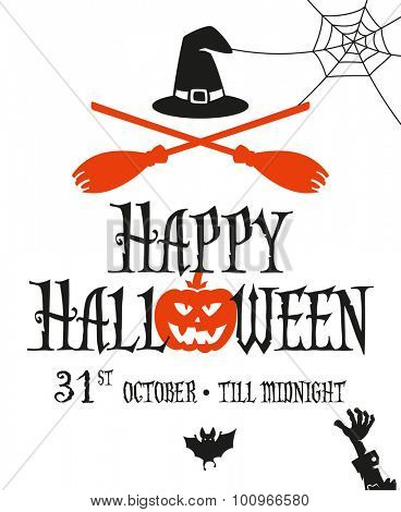 Halloween card invitation. Simple and minimal design. Two crossed broomsticks and with hat.