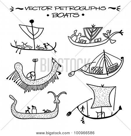 Vector petroglyphs. Boats of wandering cattle herders