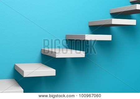 Ascending Stairs On The Blue Wall