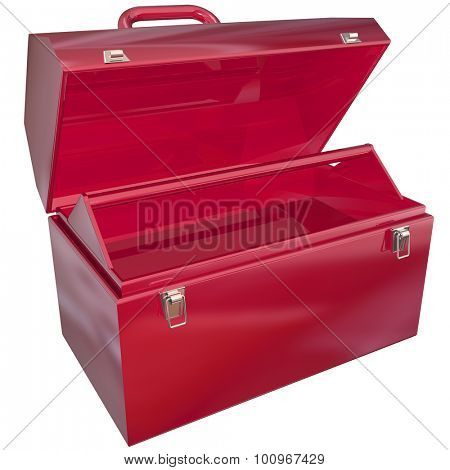 Red metal toolbox open and ready to display your message with blank copyspace where tools should be
