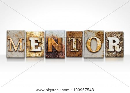 Mentor Letterpress Concept Isolated On White