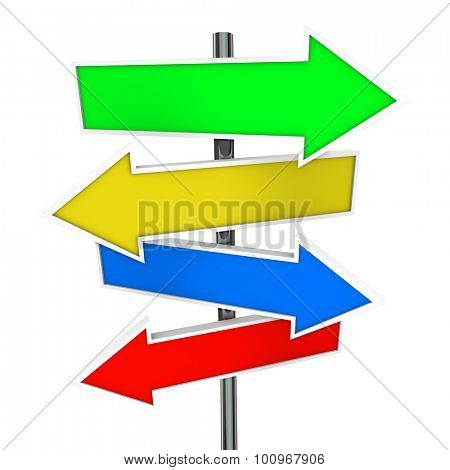 Arrow Direction Signs Four 4 Colorful Guide Post Copyspace Blank Message Your Words
