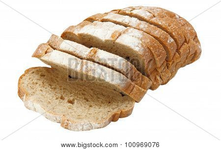 Appetizing Sliced Bread Isolated On White.