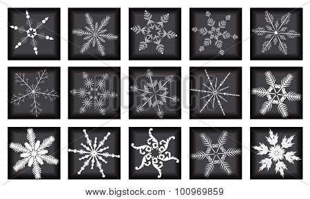 The Large Snowflakes Set On Black Background.