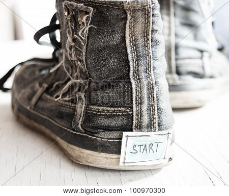 Tag With The Word Start On Sneakers.