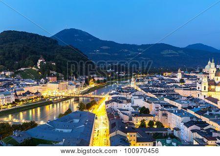 Beautiful view of the historic city of Salzburger Land, Austria at dusk