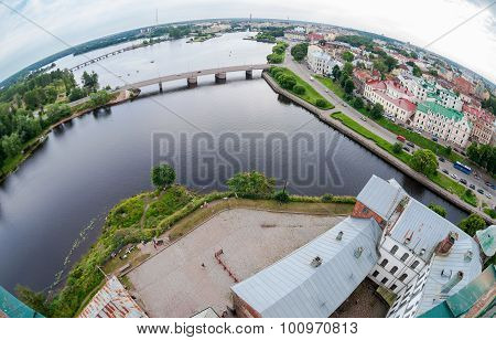 Fisheye View On The Old City From The Observation Deck Of The Vyborg Castle In Vyborg, Russia