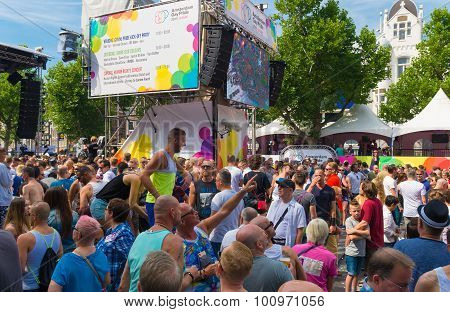 AMSTERDAM - AUGUST 2 2015: The Amsterdam Gay Pride is a festive event with a gay cultural character. It is held annually since 1996 during the first weekend of August.