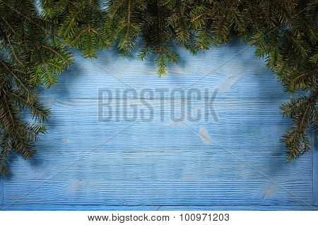 Old Planks Adorned With Twigs Christmas Tree