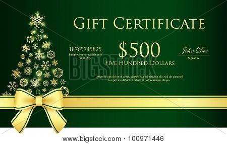 Green Christmas Gift Certificate With Christmas Tree Composed From Golden Snowflakes